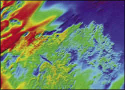 . Multibeam sonar image of Gray's Reef bathymetry. This graphic represents the entirety of the Gray's Reef National Marine Sanctuary. Source: Gray's Reef National Marine Sanctuary