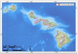 Figure 1. The sanctuary is comprised of five separate marine protected areas abutting six of the major islands of the state of Hawai'i. (Map: NOAA)