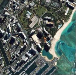 Figure 15. Satellite image of Waikiki's heavily developed shoreline. (Photo: University of Hawai'i)