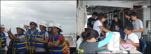 Figure 18. Students learn about marine science on an in-the-field experience on the NOAA ship Hi�ialakai. (Photos: NOAA)