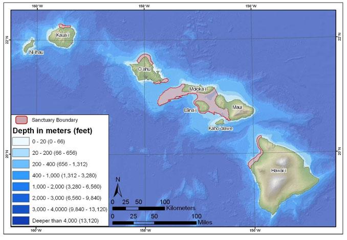 Figure 19. Bathymetric map of the Hawaiian Islands Humpback Whale National Marine Sanctuary.