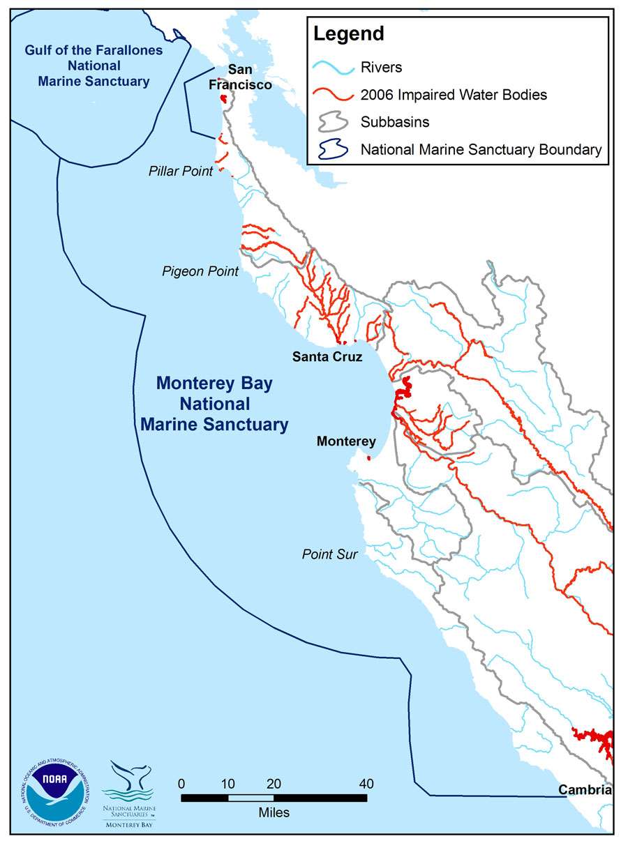 Figure 18. : Location of impaired water bodies in the Monterey Bay sanctuary and in sub-basins that drain to the sanctuary. Impaired water bodies include river segments, coastal shorelines, harbors, bays, and estuaries that do not meet, or are not expected to meet, Federal Clean Water Act water quality standards. Data source: SWRCB 2006. Map: S. De Beukelaer, NOAA/MBNMS