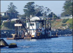 Figure 22. Dredging, which is used to improve access to harbors for vessels, is a pressure on benthic habitats and communities. Photo: NOAA/MBNMS