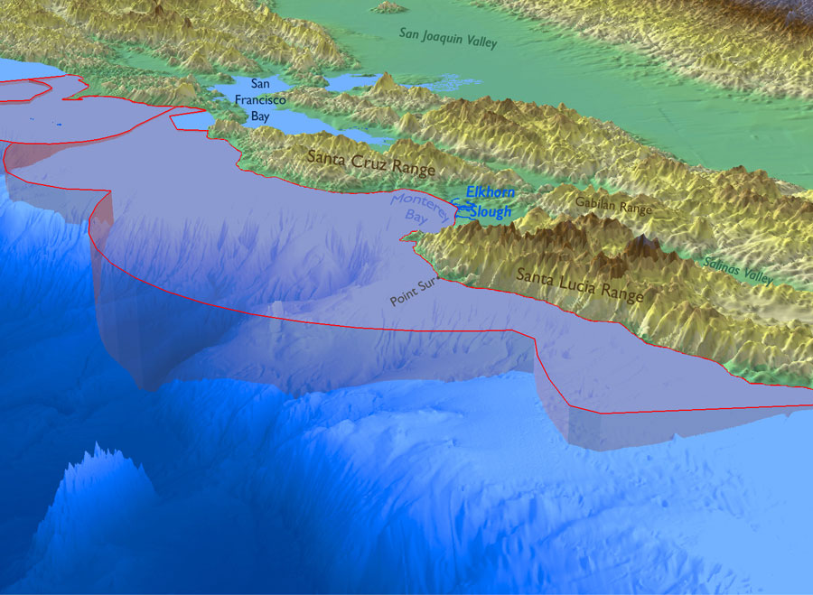 Figure 2. Bathymetry of the Monterey Bay sanctuary highlighting the submarine canyons and deep sea. There is a 1.5-unit vertical exaggeration in this map. Map: S. DeBeukelaer, NOAA/MBNMS