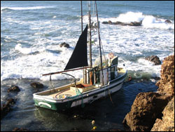 The F/V Lou Denny Wayne ran aground on November 29, 2007 one mile sough of Pigeon Point, San Mateo County in the Monterey Bay sanctuary. Photo: A. DeVogelaere, NOAA/MBNMS