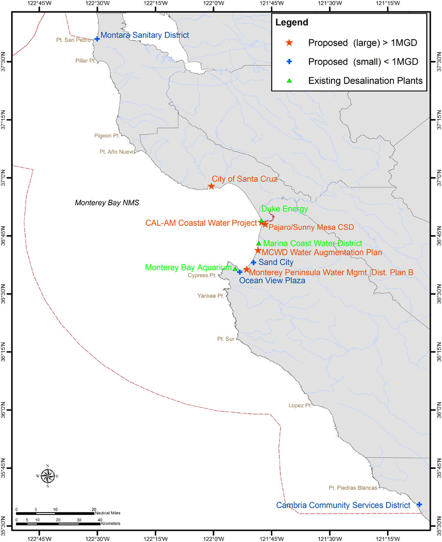 The location of existing and proposed desalination plants in Monterey Bay National Marine Sanctuary.  Map: D. Lott, NOAA/ONMS