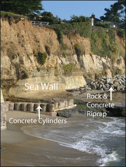 Caption: An unplanned assemblage of coastal armoring structures at Opal Cliffs near the city of Capitola (on the north side of Monterey Bay).