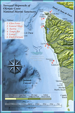 Figure 13. Surveyed shipwrecks in Olympic Coast National Marine Sanctuary. (Map: OCNMS)