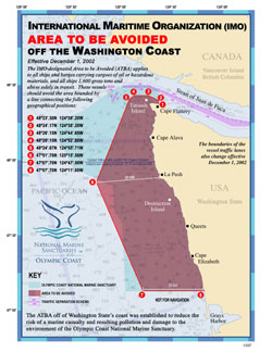 Figure 30. Map of Olympic Coast National Marine Sanctuary (in blue) and the Area To Be Avoided (in red). (Flyer: NOAA Olympic Coast National Marine Sanctuary)