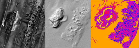 Figure 32. Using texture analysis algorithms, information from side-scan sonar imagery (left plate) and multi-beam bathymetry (middle plate) are combined to create classified habitat images (right plate). (Image: OCNMS)