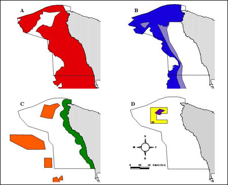 Figure 35.</b> Maps depicting areas offshore from Washington state (gray) and within the Olympic Coast National Marine Sanctuary boundary (black line) subject to fishing closures. (A) Red area is the Non-trawl Rockfish Conservation Area (RCA), which is closed year round to non-tribal commercial longline and fish pot gears. (B) The Trawl RCA is closed to non-tribal commercial trawling with seasonal adjustments to depth contours — solid blue is closed November through February, while both solid and hatch blue approximates areas also closed March through October. (C) Green area is state of Washington waters closed year round to non-tribal commercial trawling, and the orange areas are Essential Fish Habitat conservation areas closed year round to non-tribal commercial trawling. (D) North Coast Yelloweye RCA year-round closures are yellow for recreational groundfish fishing, purple for commercial fixed gear (longline and fish pots) and recreational groundfish, and brown (small box within yellow area) for salmon troll gear.  (Data obtained from NOAA Fisheries, Northwest Region)