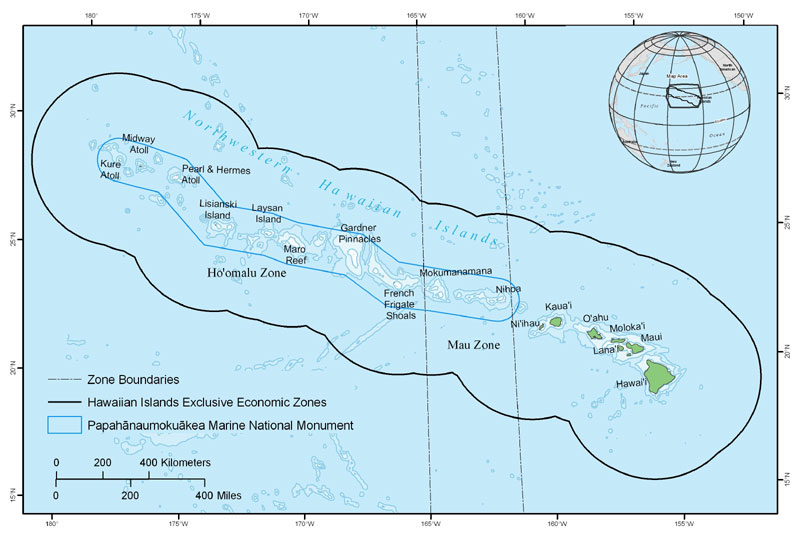 Figure 15. Bottomfish fisheries are divided into management subareas in the Hawaiian Archipelago. As of 2003, five bottomfish vessels operate in the Mau Zone, and four operate in the Ho'omalu Zone.