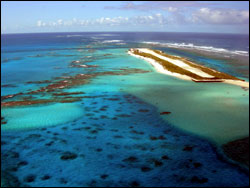 Figure 19. Tern Island at French Frigate Shoals, which was enlarged during World War II to create an air strip. Today the island is part of the Hawaiian Islands National Wildlife Refuge, operated year-round as a field station by the U.S. Fish and Wildlife Service and seasonally visited by NOAA Fisheres marine mammal and sea turtle scientists and U.S. Fish and Wildlife Service seabird biologists and volunteers.