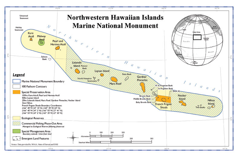 Map of monument boundaries, special preservation and management areas, ecological reserves, and commercial fishing phase-out areas.  (Map: Papahnaumokukea Marine National Monument)