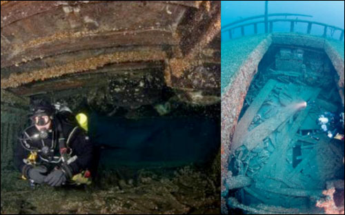 Figures 12 and 13. Resting in 200 feet of water, the wreck and cargo of the steamer Florida is well-preserved. Left: A diver swims between decks, while hovering above are several air-tight barrels still buoyant after 114 years. Right: A view from above into one of the package freighter's cargo holds, with cargo still stacked along the hull (NOAA Thunder Bay NMS).
