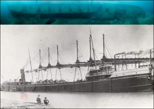 Figures 16 and 17. The 300-foot-long steamer Norman rests in 200 feet of water outside the sanctuary's northern boundary. Listing to port but amazingly intact, the enormous steel wreck contains many artifacts, as well as human remains (NOAA Thunder Bay NMS, Thunder Bay Sanctuary Research Collection).