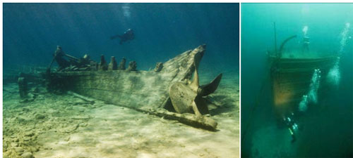 Figures 1 and 2. Deep or shallow, Lake Huron's cold, fresh water keeps shipwrecks well-preserved. Left: Resting in 15 feet of water, the wreck of the steamer Monohansett is a popular destination for kayaking and snorkeling, and in 2011 became the centerpiece of a new glass bottom boat tour operating out of Alpena. Right: The bow of the steamer Florida rests in 200 feet of water outside the sanctuary's northern boundary. Incredibly well-preserved, sites like this offer a one-of-a-kind opportunity for historians, archaeologists and experienced technical divers (NOAA Thunder Bay NMS).