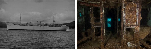 Figures 23 and 24. Left: The Monrovia, pictured here as SS Empire Falstaff, sank during a 1959 collision and became one of the first Great Lakes shipwrecks of the St. Lawrence Seaway era. Linking the Great Lakes to the eastern seaboard via the St. Lawrence River, the final enlargement to the seaway was made in 1959. Over the next 50 years, $350 billion in cargo from more than 50 nations would pass through this engineering marvel. Two other �salties� have wrecked in the Thunder Bay region as well. Right: Today, the wreck of the Monrovia sits in 140 feet of water and is a popular dive site.