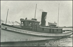 Figure 25. The tug W. G. Mason, built in 1898 and abandoned near Rogers City around 1924. Several smaller, local craft like these are found around Thunder Bay (NOAA Thunder Bay Sanctuary Research Collection).