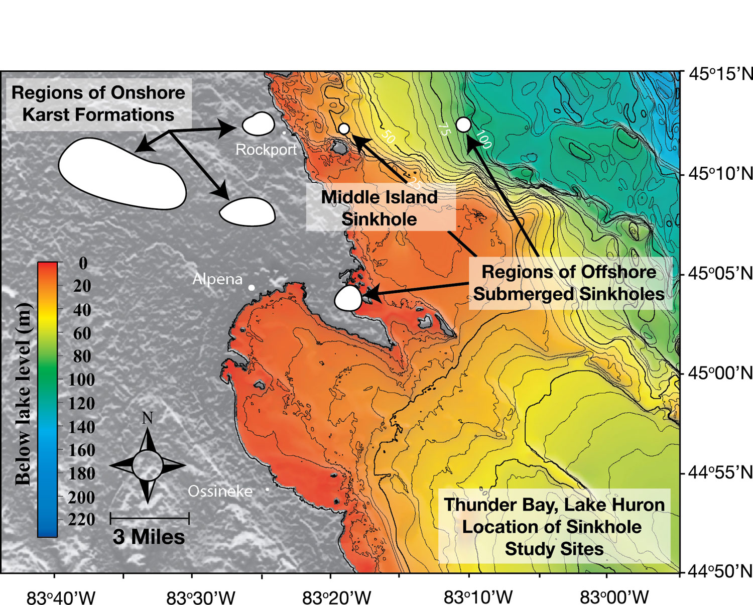 Figure 29. This map shows the locations of above-ground offshore karst formations and submerged sinkholes in the Thunder Bay sanctuary. (NOAA GLERL)