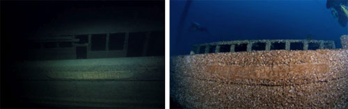 Figure 30 and 31. Left: The nameboard of the schooner Kyle Spangler (1854-1860; 185-foot depth), pictured in 2003, was vivid in its detail. Right: In 2011, the carved relief of the wooden nameboard shows visible signs of wear, as divers have brushed away stubbornly attached quagga mussels to get a photo opportunity (Stan Stock, 2003; NOAA, 2011).