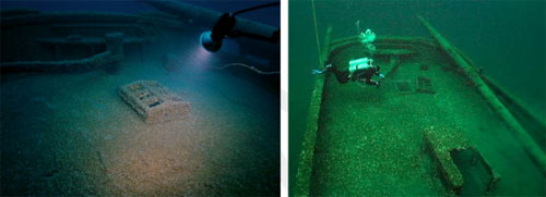 Figure 32 and 33. Left: The cabin skylight on the deck of the schooner Defiance was in place in 2005. Sometime after the 2005 photo was taken, the fragile skylight was displaced, as indicated in the photo at right taken from a diving-related website. Whether removed by divers or hooked by a visiting dive boat anchor, the displaced skylight is an indicator of negative human impacts at the site. Note also the diver pushing the tiller, which still moves and articulates the rudder. This type of disturbance is prohibited by state law. Eventually, the 157-year-old tiller will fail, compromising the one-of-a-kind site's substantial recreational, historical and archaeological value. Shipwrecks within the sanctuary are afforded added protection