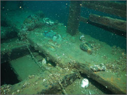 Figure 34. Moved by divers from their original disposition on the wreck of the steamer Pewabic, several artifacts such as copper ingots and ceramic cups and plates have been placed on deck and are more likely to be looted. Although sanctuary regulations and Michigan law prohibit moving artifacts, the practice occurs at many sites where divers want to provide better viewing and photography opportunities. The sanctuary works with the dive community to curb this practice (see Response section). Clearly unacceptable is the handling and relocation of human remains, an activity that has been documented at the Pewabic site.