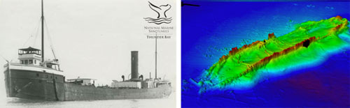 Figures 41 and 42. The 287-foot-long steamer William Rend (1888-1917; 17-foot depth), left, ended its long career in the shallow water of Thunder Bay's inner reaches. The multibeam sonar image at right reveals the effects of natural degradation on this shallow water shipwreck site (Thunder Bay Sanctuary Research Collection; NOAA Office of Coast Survey).
