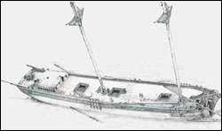 Figure 43. A perspective view of the wooden schooner Kyle Spangler, resting in 185 feet of water. Largely intact, except for collision damage at the bow, the site represents the high degree of preservation of many shipwrecks in this depth range. In 2008, sanctuary archaeologists worked with the wreck's founder, Michigan diver Stan Stock, to document the site (NOAA Thunder Bay NMS).