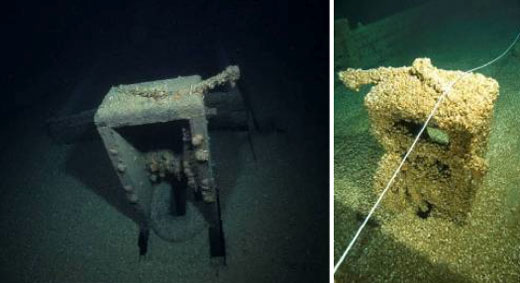 Figures 45 and 46. Left: A 2003 photo of the centerboard winch aboard the schooner Kyle Spangler. Sunk in 1860, the wooden ship lies in 180 feet of water in northern Lake Huron. Some mussels are present, but all of the winch's details are still visible. Right: A 2005 photo of the same winch (though opposite side), covered with a thick layer of quagga mussels. The difficulty of archaeologically documenting the winch is dramatically apparent, as is the potential for decreased recreational value (Left: Stan Stock; right: NOAA Thunder Bay NMS).