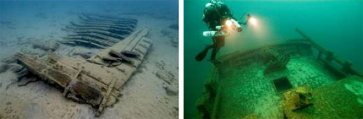 Figures 47 and 48. Left: The scattered but well-preserved remains of the steamer New Orleans (1844-1849; 13-foot depth) are representative of many shallow-water shipwreck sites in and around the sanctuary. Wrecked in Thunder Bay in 1849, the 185-foot side-wheel steamer carried thousands of passengers from Buffalo to the western Great Lakes and is archaeologically significant. Right: A diver examines the wheel of the schooner F. T. Barney (1856-1868; 170-foot depth), wrecked off Rogers City, Mich. Sitting upright and intact, the site is representative of 24 similarly preserved and archaeologically significant sites in and around the sanctuary (NOAA Thunder Bay NMS).