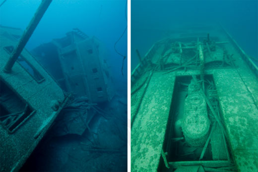 Figures 49 and 50. Left: The steamer Norman (1890-1895; 200-foot depth) with its boiler deckhouse, mast, nearly entire hull and many other features intact. Right: Norman's sister ship Grecian (1891-1906; 100-foot depth) in shallower water with boiler deckhouse gone, providing good access to the two boilers and many features below. In the foreground is the ship's triple expansion steam engine. The sites are very complementary, with their different depths and site formations revealing different elements of the same ship type. (NOAA Thunder Bay NMS)