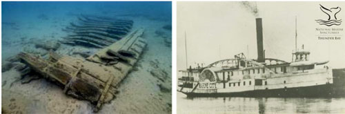 Figures 4 and 5. Left: The scattered remains of the paddle wheel steamer New Orleans (1843-1849; 13-foot depth) are a complex artifact. Wrecked in Thunder Bay in 1849, the 185-foot side-wheel steamer carried thousands of passengers from Buffalo to the western Great Lakes during its career. Today, the shallow site is an excellent venue for diving, snorkeling, kayaking and glass bottom boat excursions. Right: The paddle wheel steamer Marine City (1866-1880; five-foot depth) carried passengers and freight on a regular schedule to Alpena and other port towns along Lake Huron (NOAA Thunder Bay NMS, Thunder Bay Sanctuary Research Collection).
