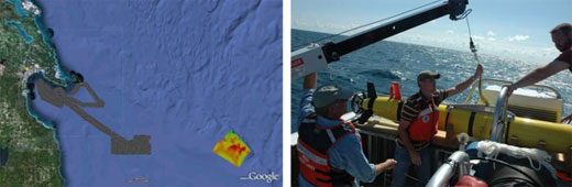Figures 53 and 54. Two separate remote sensing efforts in 2010 resulted in the discovery of one new shipwreck and an enhanced understanding of a submerged land bridge that runs across Lake Huron. The darker area (left) represents sonar data acquired with a forward-looking sonar mounted on a REMUS 600 autonomous underwater vehicle (right). The 52-hour survey covered 104 square miles at an average rate of two square miles per hour. The colored area in the image on the left is multibeam data acquired using the sanctuary's R/V Storm. Logging 52 hours of survey time, the team mapped 46 square miles. (NOAA Thunder Bay NMS)