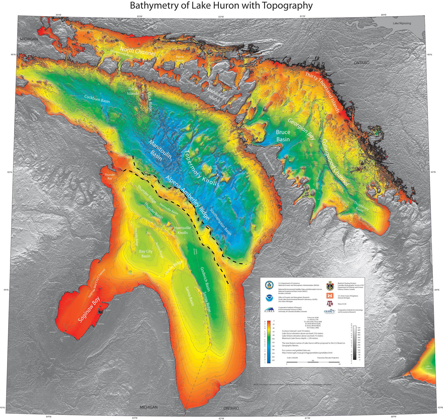 Figure 56. A bathymetry map of Lake Huron showing the Alpena-Amberley Ridge, which once connected Michigan with Canada. University of Michigan anthropologists are searching the area for prehistoric archaeological sites.