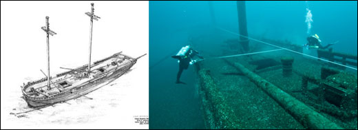 Figures 60 and 61. Left: A perspective drawing of the schooner Defiance, resting in 185 feet of water outside the sanctuary's northern boundary. Many popular, intact shipwrecks lay in deeper waters outside the sanctuary. In an effort to better understand and protect these impressive time capsules, the sanctuary and its partners regularly work outside the sanctuary. Right: NOAA archaeologists take measurements of the Defiance in order to produce a detailed map of the wreck site. (NOAA Thunder Bay NMS)