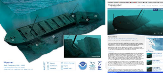 Figures 64-66. Left: locations of permanent moorings in Thunder Bay National Marine Sanctuary. Center: A sanctuary-sponsored mooring at the wreck of the steamer Monohansett, resting in 18 feet of water. Right: A diver ascends from a deeper dive via the safety of a sturdy mooring line. (NOAA Thunder Bay NMS)
