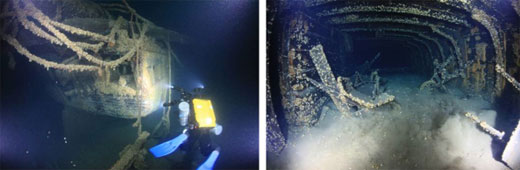 Figures 70 and 71. These excellent photos of the M. F. Merrick taken in 20ll by volunteers significantly enhanced the sanctuary's assessment of this newly discovered shipwreck. Left: The image of the vessel's stern gives a good indication of site integrity and reveals some distinctive architectural elements, as well as coverage of invasive quagga mussels. Right: The vessel's cargo hold revealed substantial artifacts, including several wheelbarrows used by the crew to handle the Merrick's bulk cargo. Note the presence of mussels, even inside the vessel. (John Janzen)