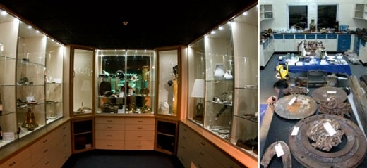 Figure 76 and 77. The sanctuary's conservation lab ensures that artifacts long ago removed from wrecks get appropriate treatment. Many artifacts eventually go on display in the Great Lakes Maritime Heritage Center's visible artifact storage room. Windows between the main exhibit and the conservation lab allow the public to see the restoration in real-time (NOAA Thunder Bay NMS).