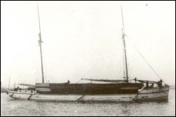 Figure 8. Originally built as a three-masted schooner, the 162-foot Harvey Bissell was later retrofitted to a two-masted schooner barge, a typical conversion for schooners whose owners sought to keep the aging vessels in use. Note the tow line at the bow extending out of the right frame of the photograph. Pictured here with an enormous deck load of lumber, the Bissell wreck sits in 15 feet of water just off the Alpena waterfront (Thunder Bay Sanctuary Research Collection).