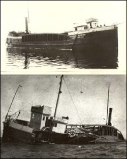 Figures 9 and 10. The wooden steam barge B.W. Blanchard operated for 34 years before running aground in Thunder Bay during a blinding snowstorm. With much of the wrecked vessel exposed, it quickly succumbed to winds and waves. Today, its remains lay scattered in shallow water, mixed with the wreckage of other vessels that shared a similar fate (Thunder Bay Sanctuary Research Collection).