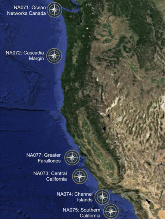 Map Of Cruise Leg Locations Along The West Coast Of The United States