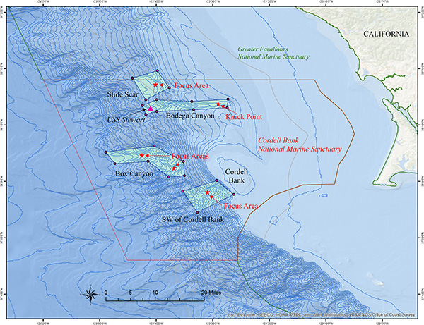 map of proposed targets in cordell bank national marine sanctuary