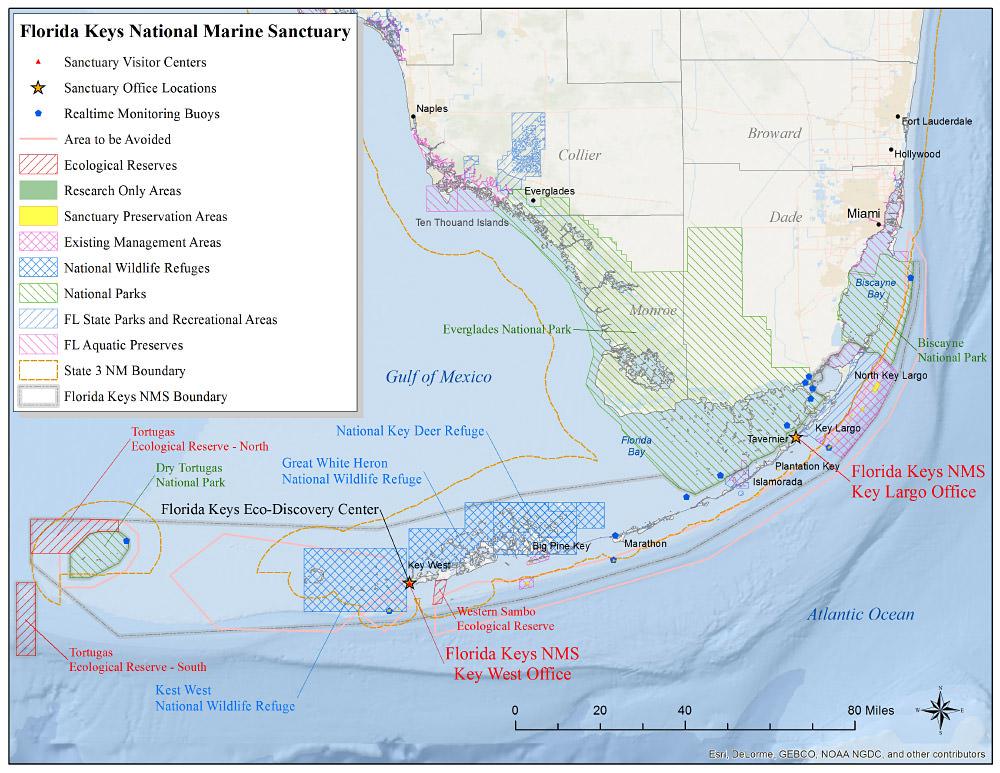Map Of Florida And Florida Keys.Florida Keys Map National Marine Sanctuaries