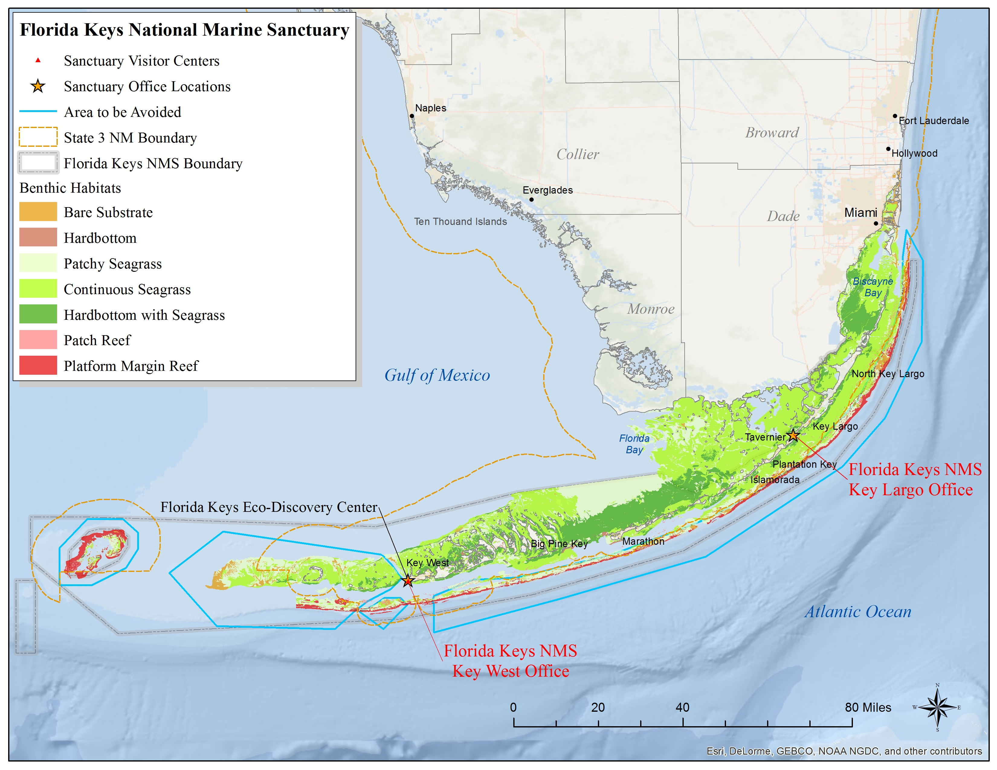 Map Of Florida Keys.Florida Keys Map National Marine Sanctuaries