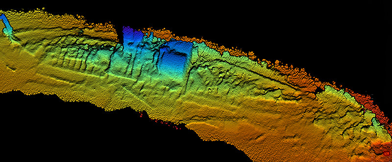 Coda Octopus 3-D Echoscope sonar, downward view of the shipwreck SS City of Chester with sternpost, compound steam engine and boilers and bow