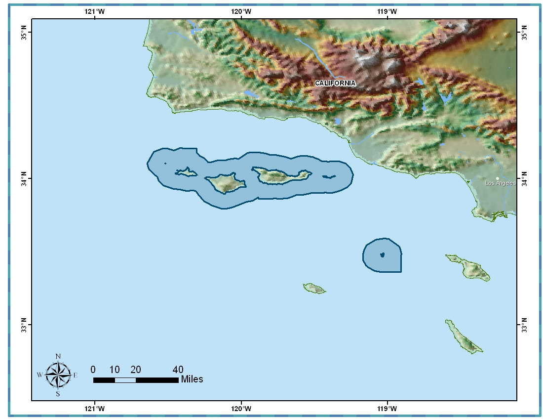 Channel Islands National Marine Sanctuary Boundary and Surrounds
