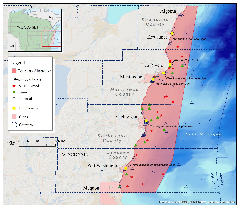 Wisconsin Lake Michigan National Marine Sanctuaries - A map of wisconsin