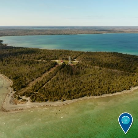 aerial view of the Presque Isle Lighthouse