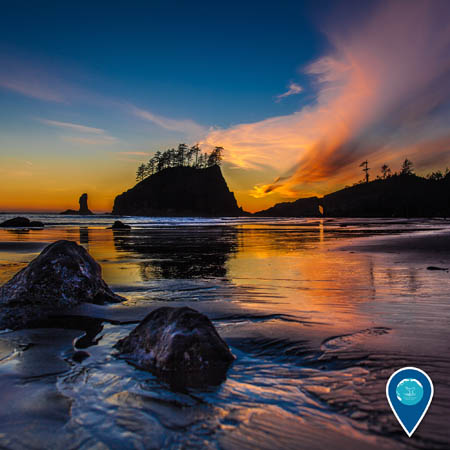 sunset on the beach at Olympic Coast National Marine Sanctuary